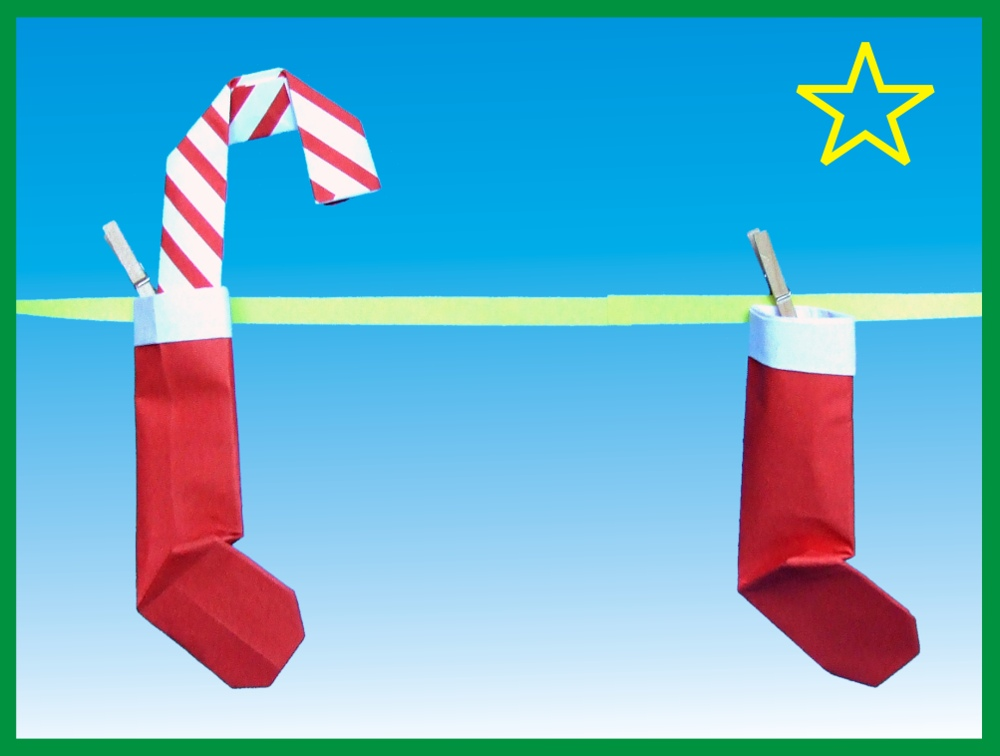 printable christmas card with origami santa socks