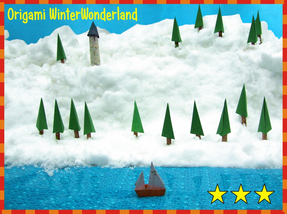 printable card with an origami winter wonderland