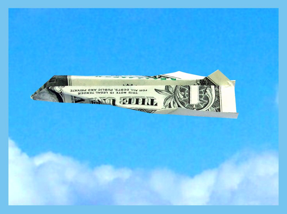 free printable card with an origami dollar bill plane