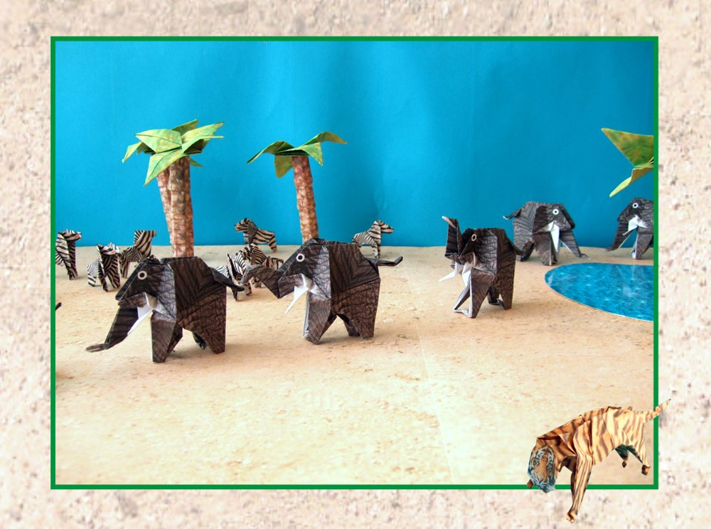 printable card with origami elephants in the desert