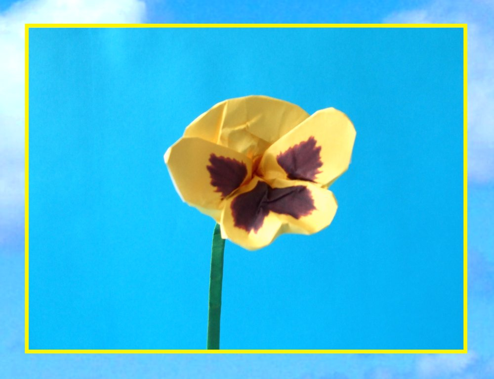 free printable card with a cute origami pansy