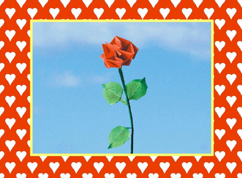 printable valentine card with an origami rose