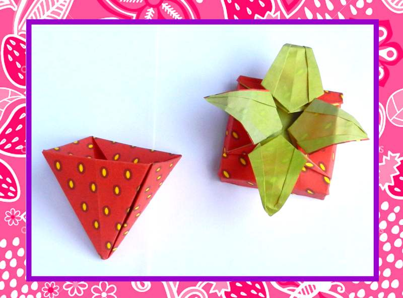 Card with an Origami strawberry box