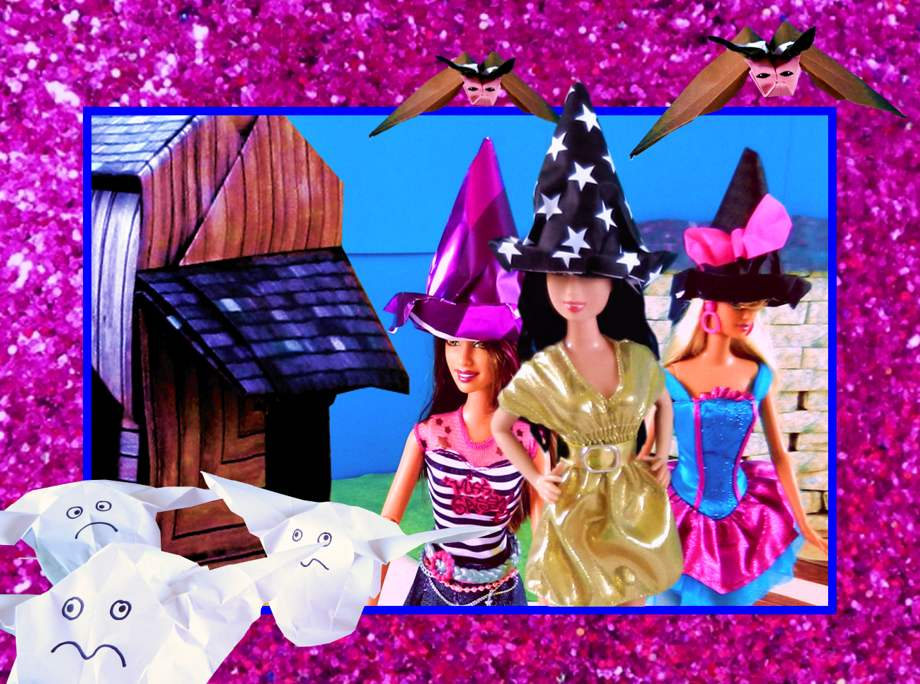 Origami Barbie Halloween Card