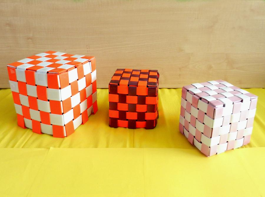 Origami paper woven cubes