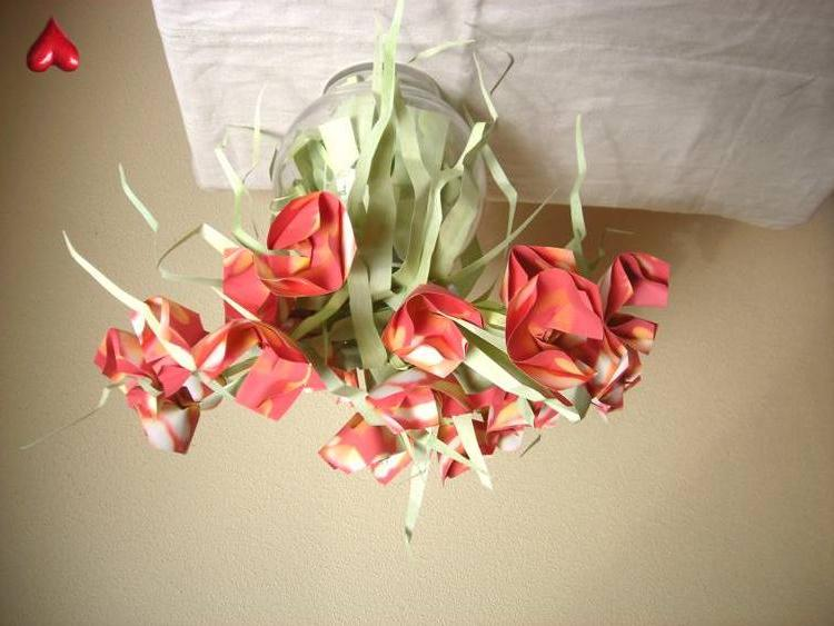 origami card with flowers