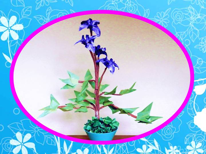 Bonsai Origami Iris Flower