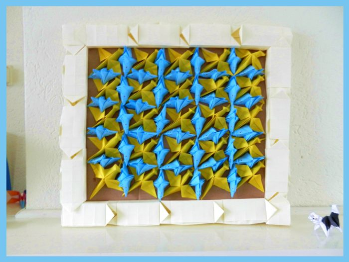 3d painting with origami fishes and birds