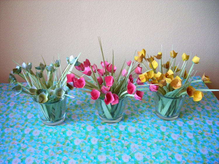 colourful origami flowers