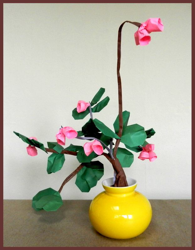 Bonsai Origami Bell Flowers in a pot