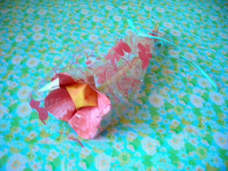origami flower in gift wrap