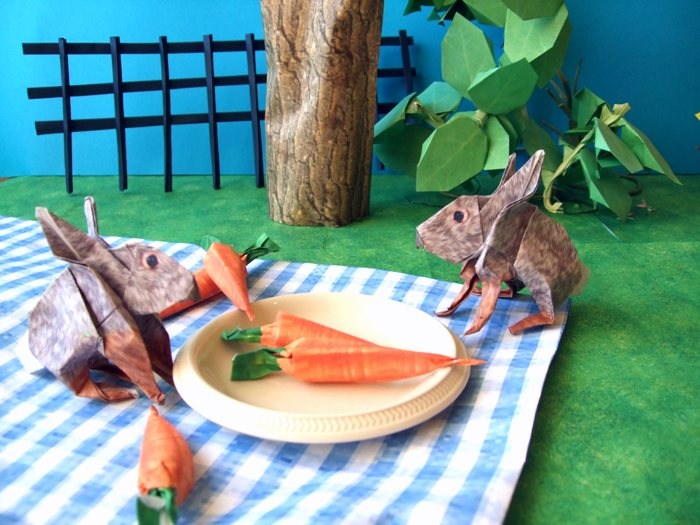 origami rabbits eating a carrot