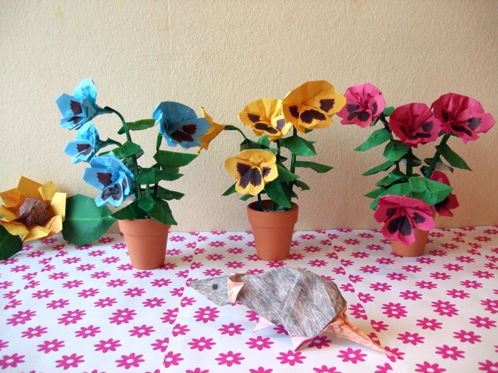 colourful origami pansies