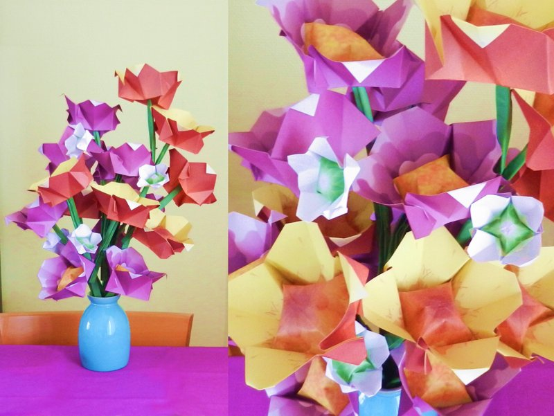 Origami puffy flowers