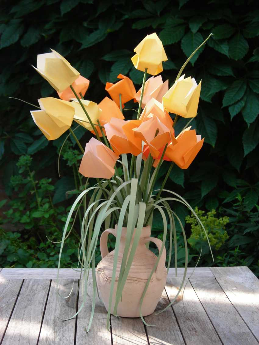 colourful bouquet of origami tulips in a pot