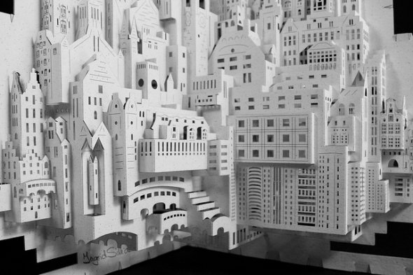 complete paperart city in white
