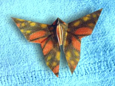 origami butterfly made of a hand drawn patterned paper