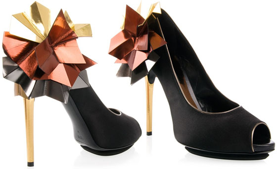 Dolcini Origami Satin Peep Toe Pumps
