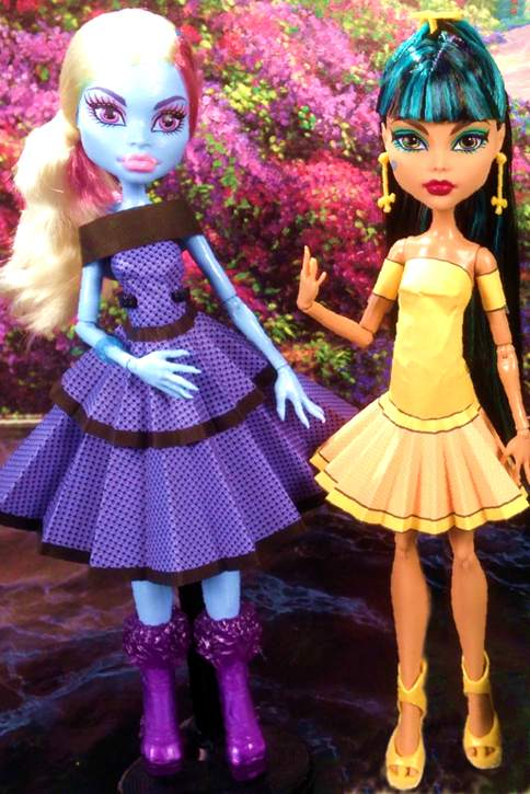 Monster High dolls with paper dresses