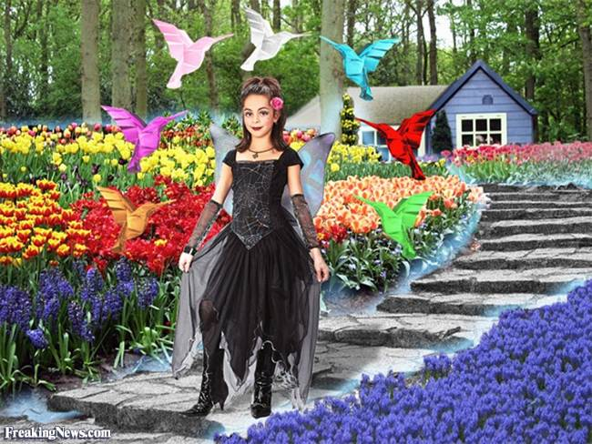 Garden Princess with flying origami Hummingbirds