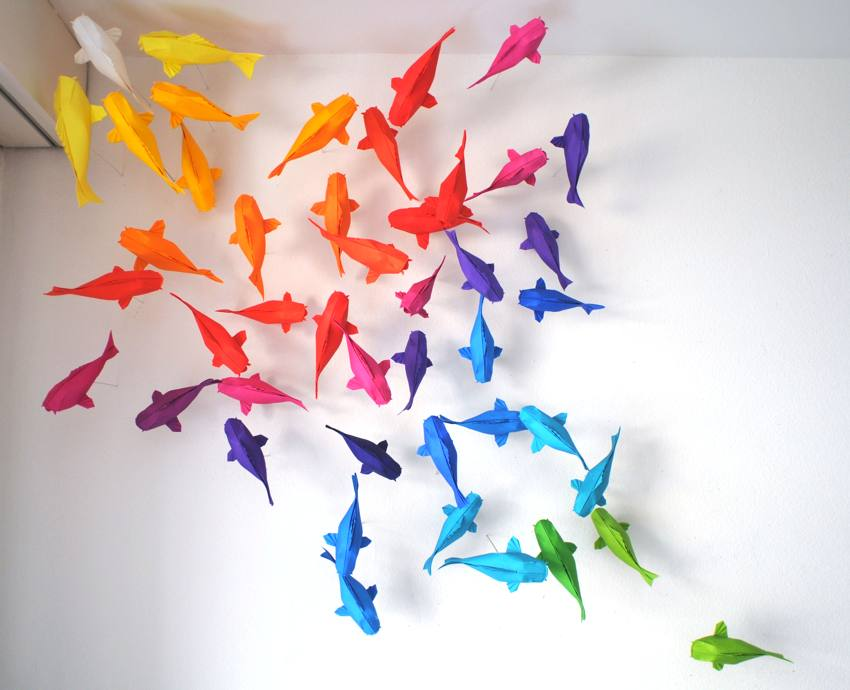 Origami Rainbow Koi Fish Wall Decoration