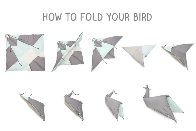 Fold a blanket into a bird
