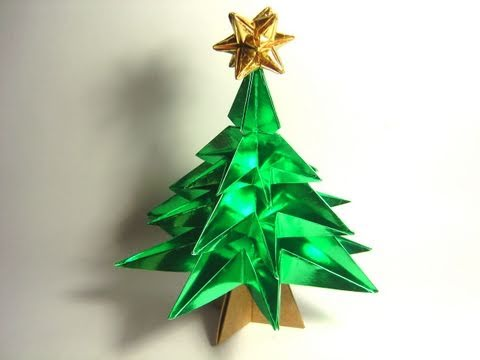 foil paper origami christmas tree