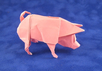 pink origami pig by Ronald Koh