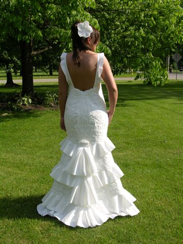 toilet paper origami wedding dress