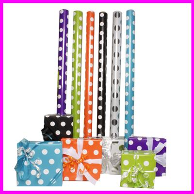 polka dot wrapping papers in various colors