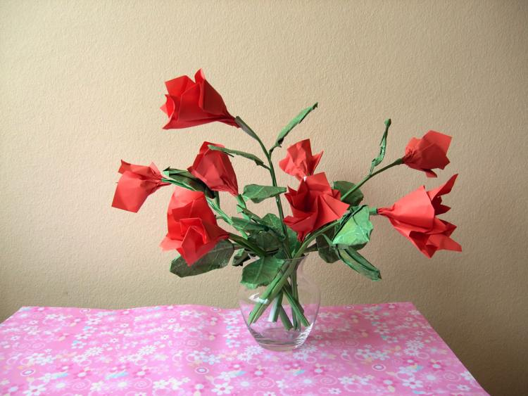 bouquet of origami roses in a vase