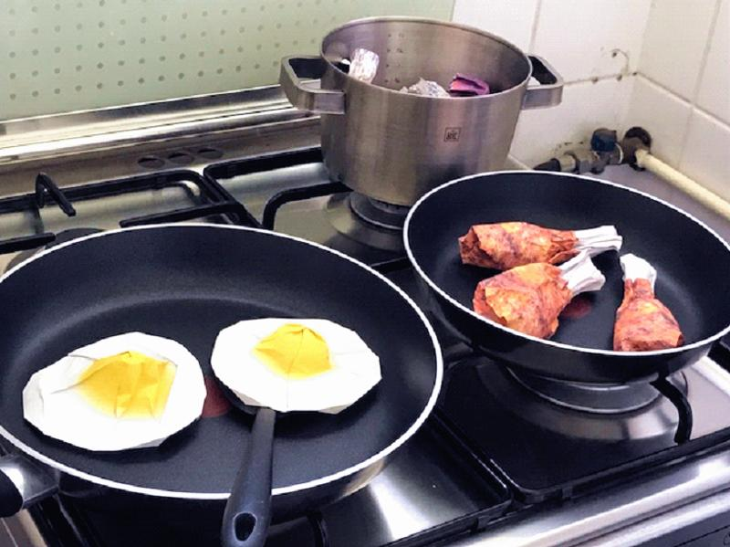 fried eggs and drumsticks