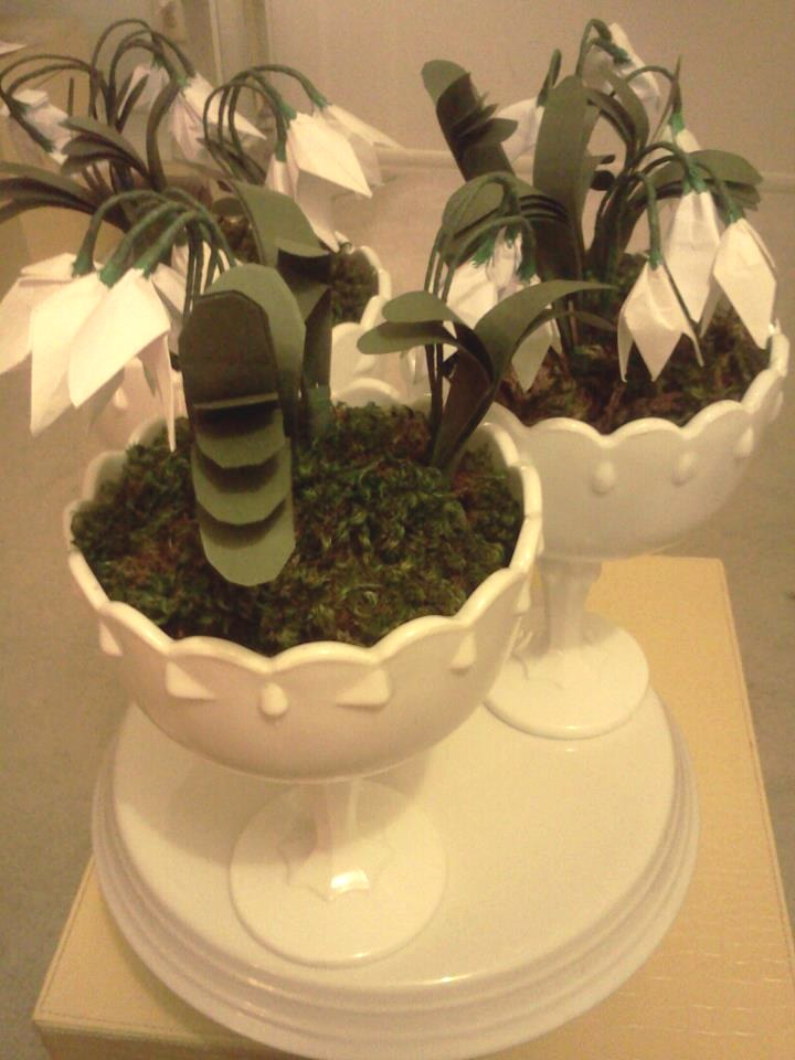 cute origami snowdrops in a white bowl