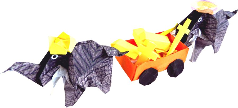 origami elephants with their treasure