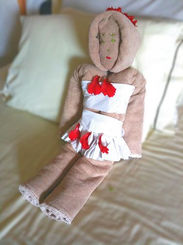 ... towel origami doll with skirt