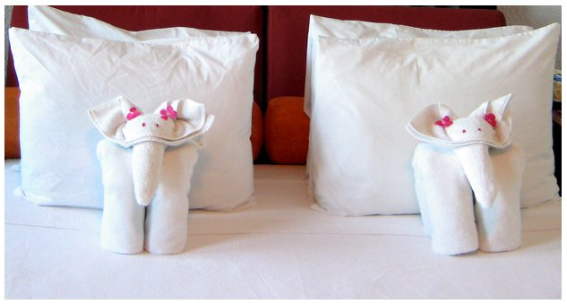 cute towel origami elephants on a bed