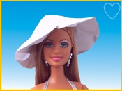 Barbie with origami summer hat