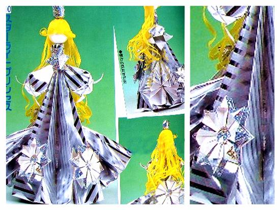 Paper origami flower doll