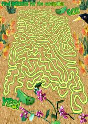 Printable maze with a caterpillar