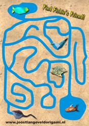 printable maze with a fish, find fishie's friend!