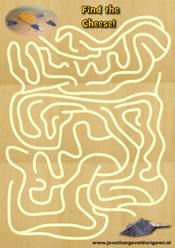 printable maze with a mouse, find the cheese!