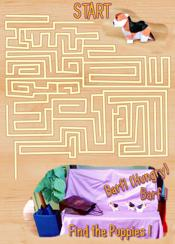 Find the puppy dogs in the maze