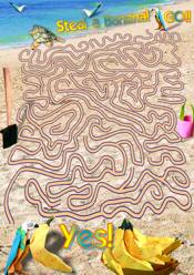 Printable maze with a parrot on the beach