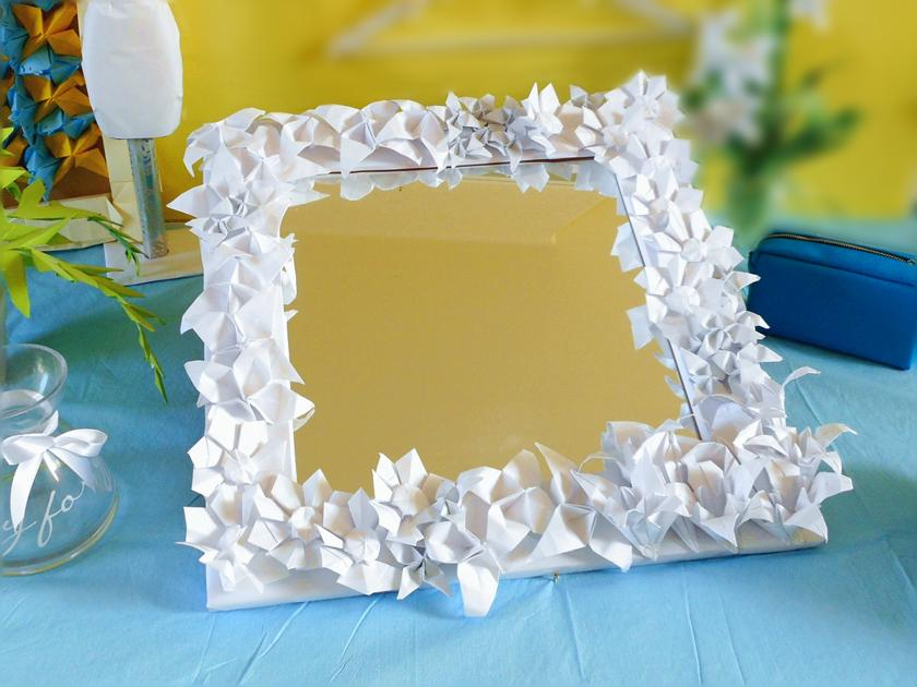 Origami Flowers Mirror Frame